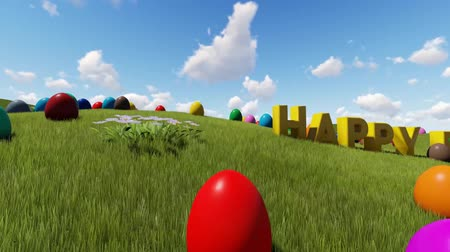 Easter eggs on the meadow