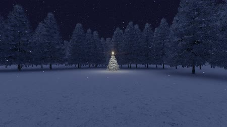 Christmas tree and snow falling