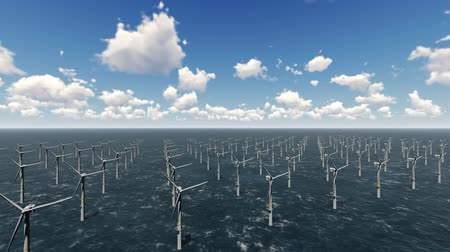 Offshore-Windpark, Windmühlen, 3D-Rendering Videos