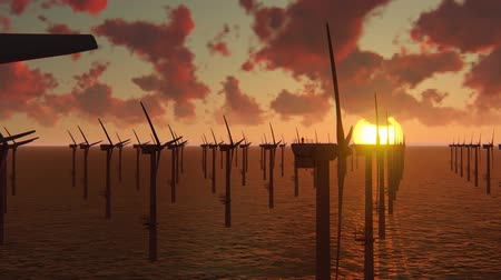 off shore : Twee offshorewerkers op de bovenkant van de windmolen, windpark Stockvideo