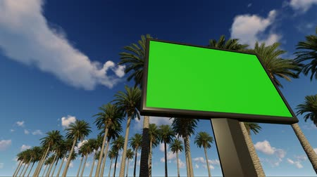 Green screen billboard, with palm trees, animation