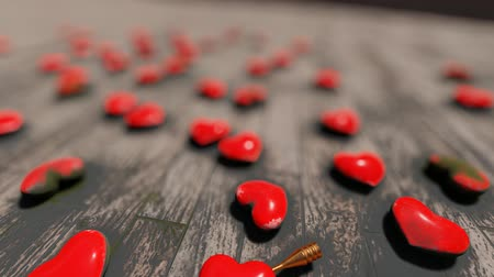 Red hearts on the floor, bokeh, 3D rendering Stock Footage