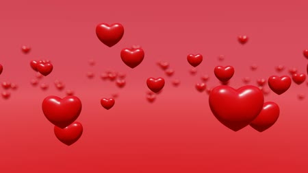 Red hearts levitate bokeh background, animation
