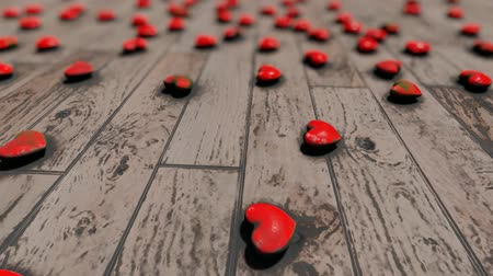Red hearts on the floor, bokeh, animation