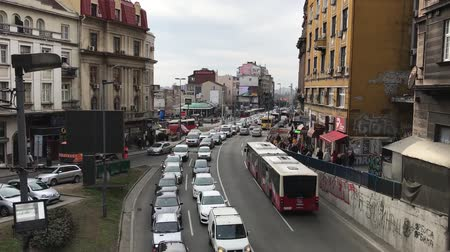 Belgrade busy traffic, Serbia, Europe Стоковые видеозаписи