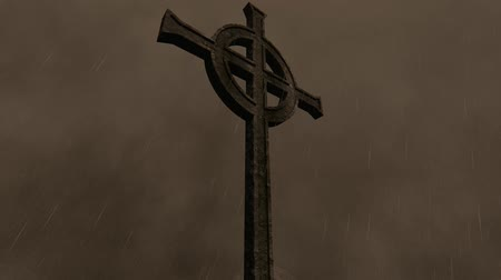crucifix : Gothic Cross With Rain Thunder and Flash
