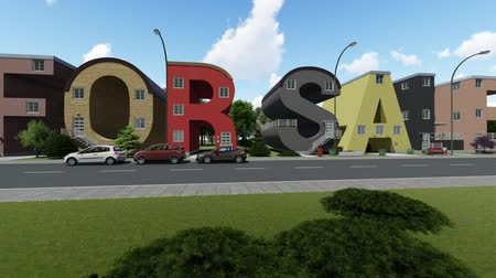 для продажи : Buildings shaped like a words For Sale Стоковые видеозаписи