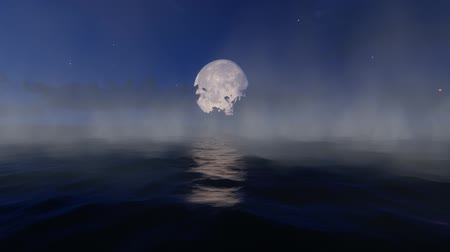 Full Moon over the sea and steam
