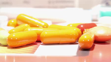 addiction recovery : Drugs, pills and capsules shot on slider. Macro shooting Stock Footage