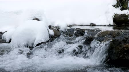 tampado : Falling water in winter river in mountains