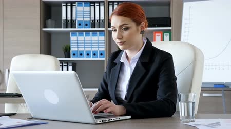 продавщица : Smiling redhead businesswoman typing on the laptop in her office Стоковые видеозаписи