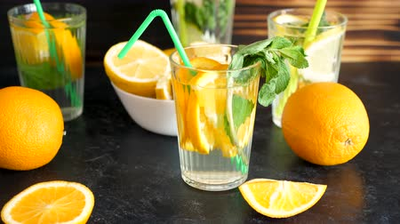 infused water : Vitamin water with slices of oranges and mint on a wooden board