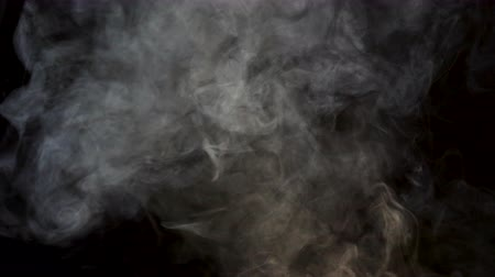 pyrotechnical : Abstract smokes and fumes on black background in studio Stock Footage