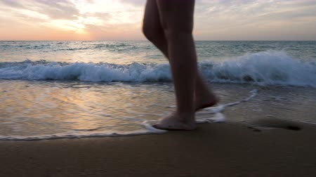 nezkažený : Close up woman feet walking on the beach in the water at the sunrise. Relax and calm. Travel and vacation Dostupné videozáznamy