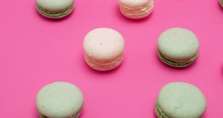 macarons : Tasty and sweet macaroons dessert on pink background