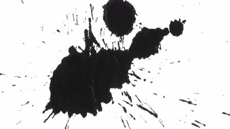 kleks : Black ink paint splashed over white textured background
