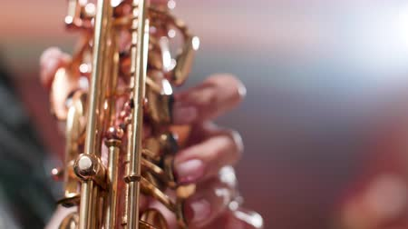 saxofonist : Detail shot of woman fingers performing on a golden polished saxophone