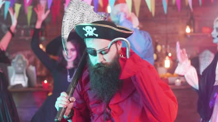 roger : Evil pirate dancing at a fun halloween party with his scary friends Stock Footage