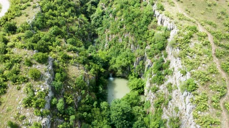 forest preservation : Aerial top down shot of canyon with waterfalls. Beautiful drone footage
