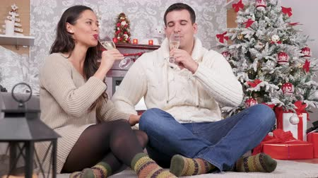 Beautiful caucasian couple clinking glasses with champagne in the Christmas eve. Xmas celebration, happiness and romance