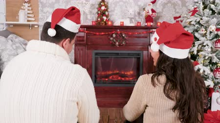 Happy couple spending Christmas in front of a fireplace, drinking champagne, selective focus Wideo