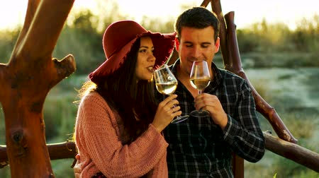 cheers : Couple having a romantic moment, tasting some white wine in beautiful sun flares. Shot in 6K on cinema camera Stock Footage