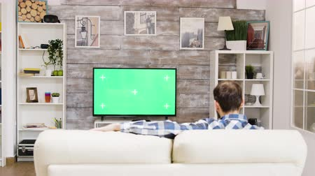changing channel : Back view of young guy relaxing on sofa in his room and watching tv. Tv with green screen.