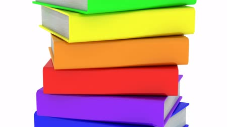 experiência : Books. White background, loop, 3d render