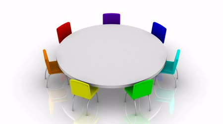 yuvarlak : Round table. White background, 3d render