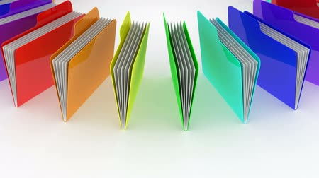 dobrador : Folders. White background, loop, 3d render   Stock Footage