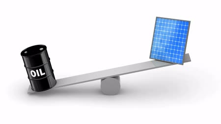 efektywność : Oil vs Solar Panels. White background, loop, 3d render Wideo