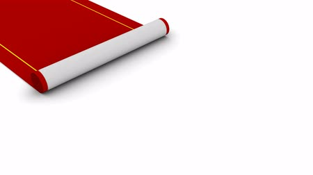 halı : Red Carpet. White background, 3d render Stok Video