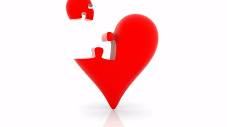 головоломка : Animated Heart. White background, 3d render