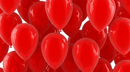 Red balloons fly up. White background, loop (from 301th to the 600th frame), 3d render