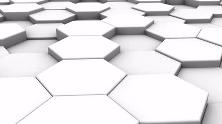 hexágono : Abstract background. Moving White Blocks. Loop, 3d render