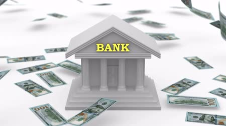 bank : Money falling near the Bank. White background, created in 4K, 3d animation