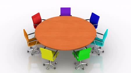 стулья : Round Table. White background, created in 4K, 3d animation