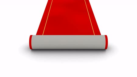 halı : Red Carpet. White background, 4 in 1, created in 4K, 3d animation Stok Video