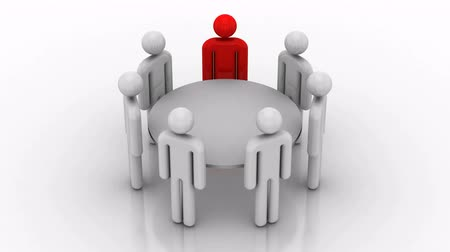 discussion meeting : Round Table. White background, created in 4K, 3d animation