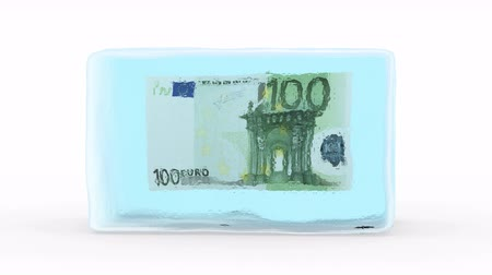 congelado : Euro Frozen in a Block of Ice. White background, created in 4K, 3d animation