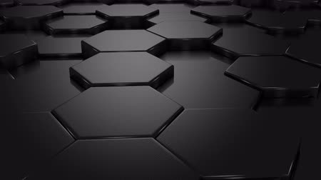 hexágono : Black Blocks Animation. Abstract background, loop, created in 4K, 3d animation Vídeos
