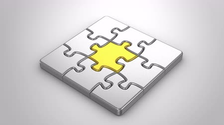партнеры : Animated Puzzles. Gray background, 2 in 1, alpha matte, created in 4K, 3d animation