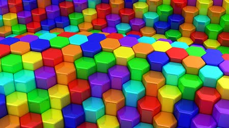 hücre : Hexagons Formed A Wave Stok Video