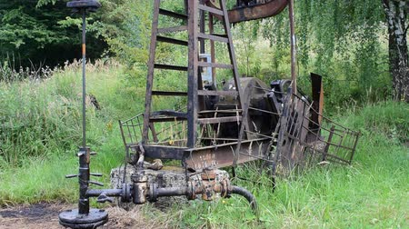 paslanmış : Oil pump in operation in the forest area