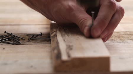 knotted : Carpenter nailing wood planks using hammer and steel nails