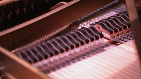 piyano : HD 1080 steadicam: grand concert piano mechanism during concert;