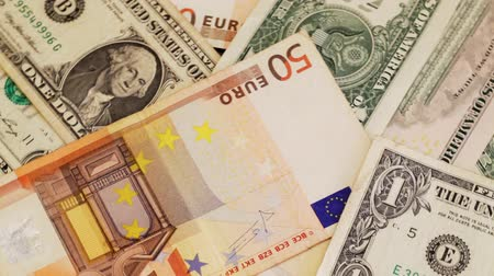 banknotlar : American dollar and European Euro cash banknotes Stok Video