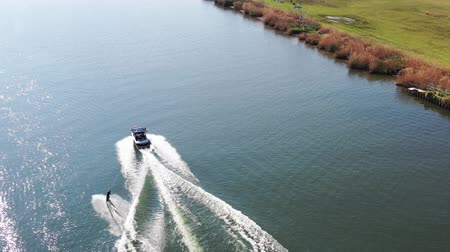 edogawa : Taken by the drone wakeboarding Stock Footage