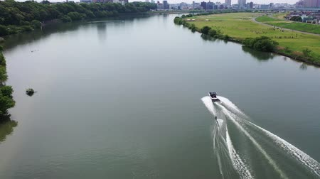 Taken by the drone wakeboarding Filmati Stock