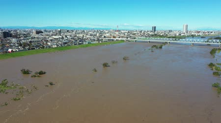 typhoon : Aerial view of the flooded Edogawa Stock Footage